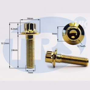 Gold Split Rim Bolt M7 x 24mm
