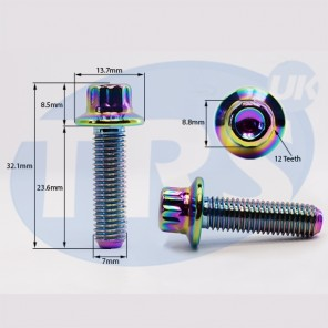 Multi Colour Oil Split Rim Bolts M7 x 1.5 24mm